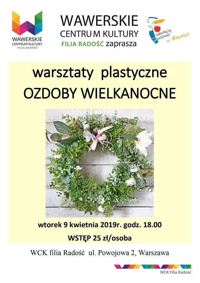 plakat warsztaty wielkanocne w WCK